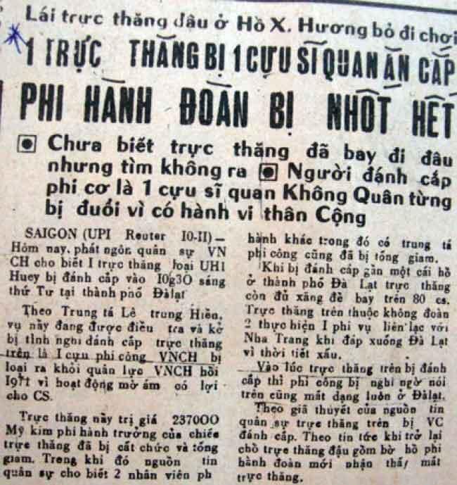 Vụ chiếc UH-1 bị đánh cắp tại Ðà Lạt năm 1973 Hồ Duy Hùng là ai? - Thiên Ân